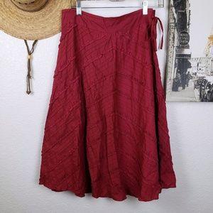 Angie Cotton Boho Diagonal Ribbon Midi Skirt Med